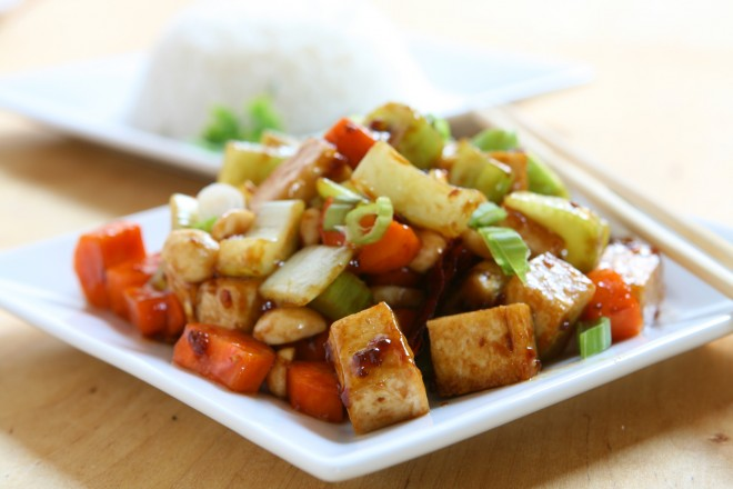 Tofu sojowe z kurczakiem, cykoria z mandarynkami